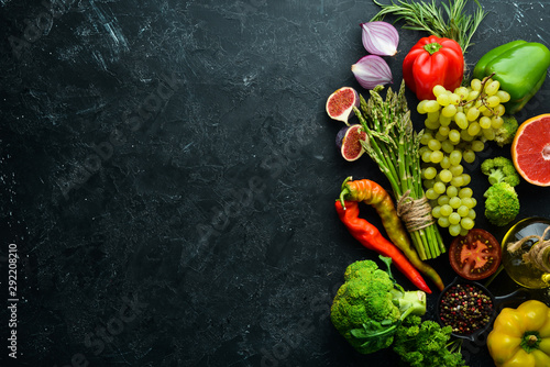 Fresh vegetables and fruits. Healthy food. Top view. Free copy space. - 292208210