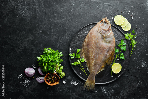 Tablou Canvas Raw flounder fish with spices
