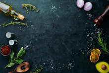 Cooking Banner. Food. Top View. Free Space For Your Text.