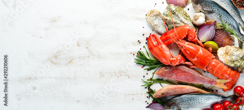 Seafood on a white background Fototapet