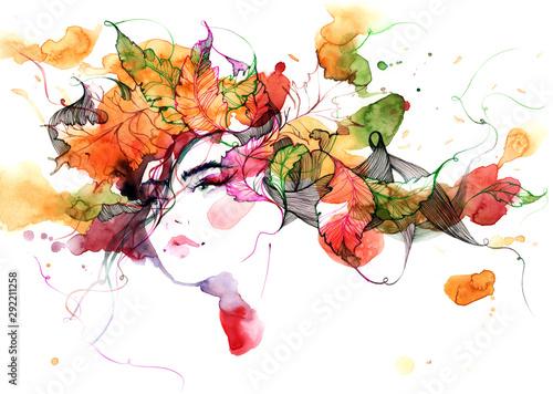 Fond de hotte en verre imprimé Peintures girl