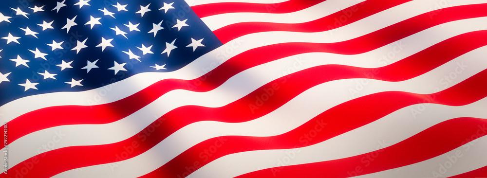 Fototapety, obrazy: Waving flag of United States - Flag of America - Banner Format