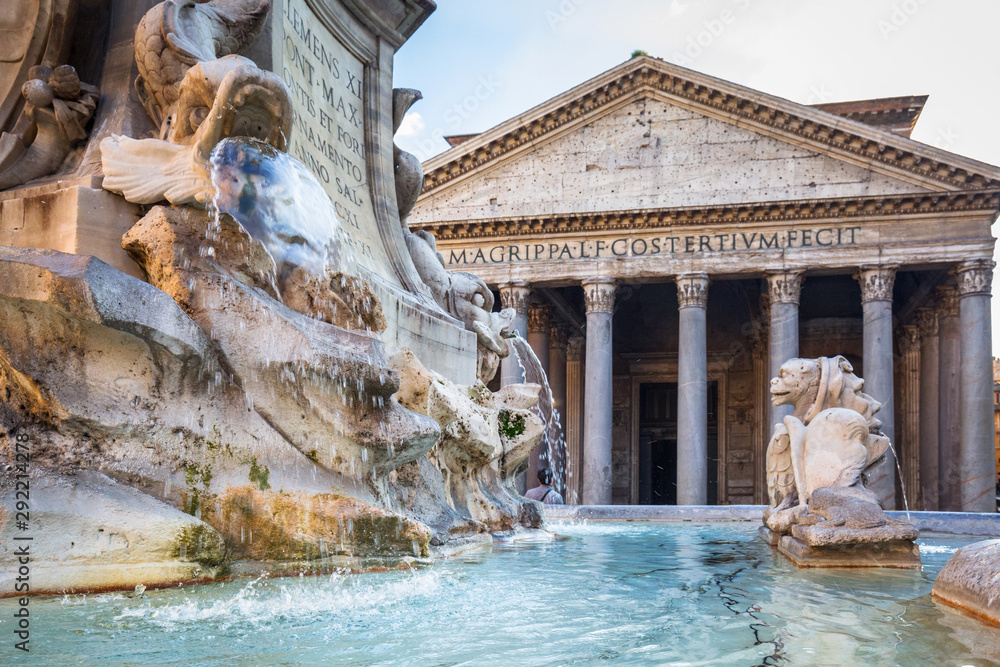Fototapeta Fountain at the Pantheon temple in Rome, Italy
