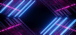 canvas print picture - Neon Glowing Purple Blue Vibrant Sci Fi Futuristic Stage Podium Construction Metal Triangle Concrete Grunge Reflective Dark Night Virtual Show Background Laser Tunnel Corridor 3D Rendering