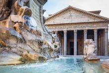 Fountain At The Pantheon Templ...