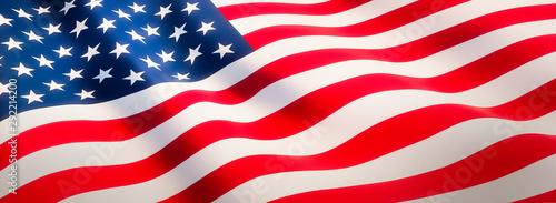 Waving flag of United States - Flag of America - Banner Format Fototapeta