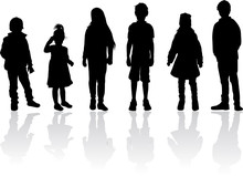 Vector Silhouette Of Children ...