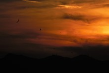 Panoramic View Of High Coloured Sky At Sunset Over The Island Of Crete After Stormy Winds From Sahara