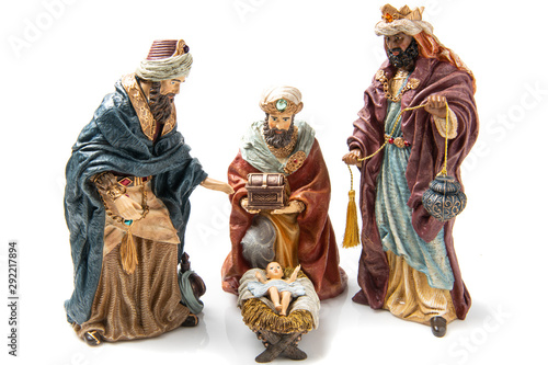 Three Wise Kings  and Baby Jesus Ceramic Figurines Fototapete