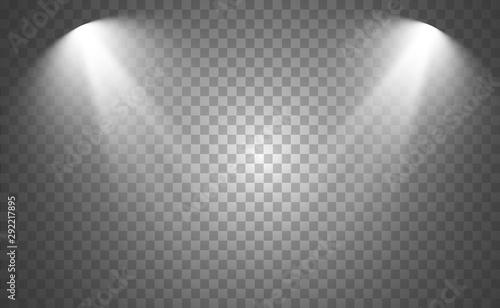 Canvastavla White scene on with spotlights. Vector illustration.
