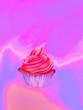 Leinwanddruck Bild - cupcake on pink background
