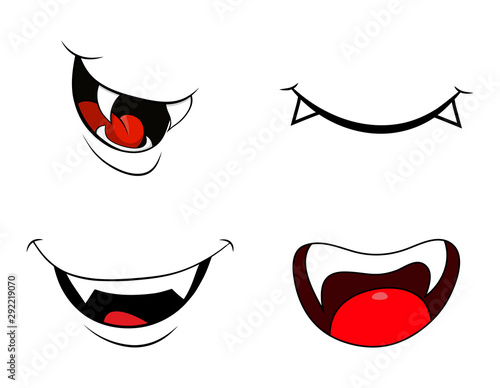 vampire mouth fang smile set  isolated on white background Billede på lærred