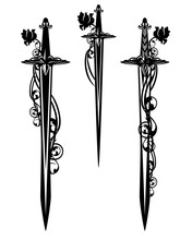 Medieval Battle Sword And Dagger Blades Entwined With Rose Flowers - Black And White Vector Design Set