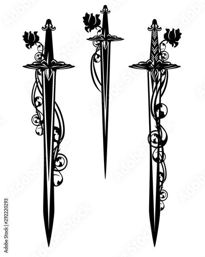 Obraz na plátně  medieval battle sword and dagger blades entwined with rose flowers - black and w