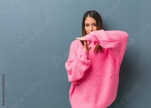 Young modern woman doing a timeout gesture Tableau sur Toile