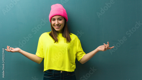 Young modern woman inviting to come Wallpaper Mural
