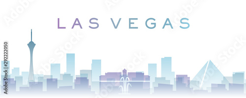 Las Vegas Transparent Layers Gradient Landmarks Skyline Canvas Print