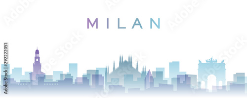Milan Transparent Layers Gradient Landmarks Skyline Canvas Print