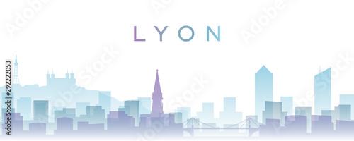 Lyon Transparent Layers Gradient Landmarks Skyline Wallpaper Mural