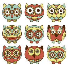 Nine Funny Oval Owls In Muted ...