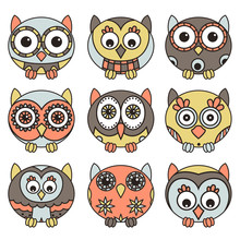 Nine Funny Owls In Oval Shapes