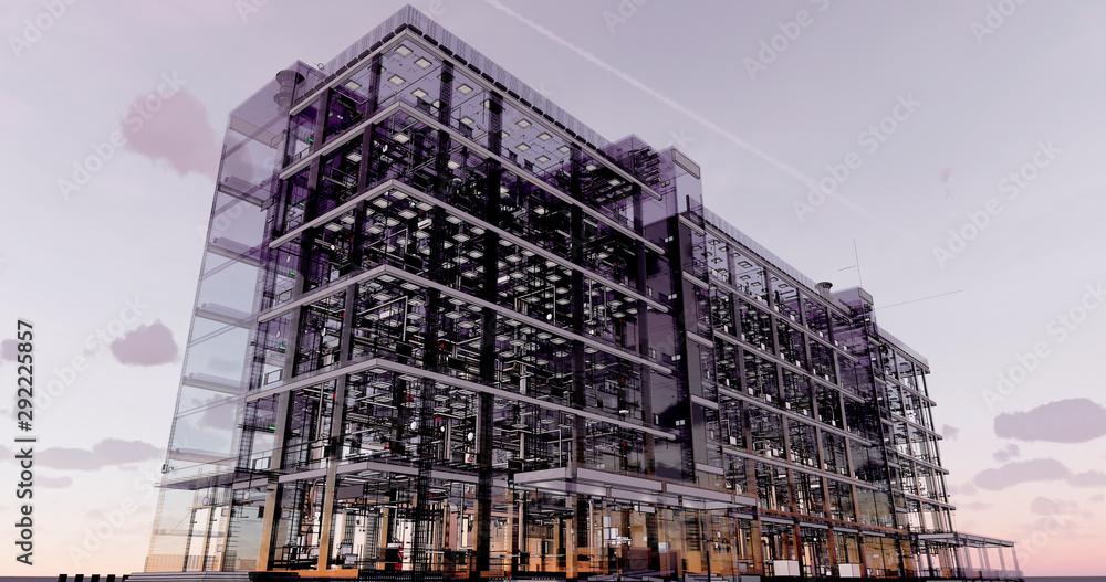 Fototapeta Conceptual visualization of the BIM model utilities of the building