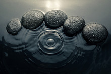 Shiny Zen Stones With Water Dr...