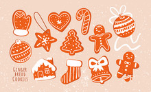 Various Tasty Gingerbread Cookies. Hand Drawn Colored Vector Set. Holiday Trendy Illustration. Different Shapes Of Sweets. Christmas Winter Mood. All Elements Are Isolated. Cartoon Style