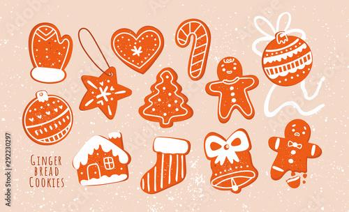 Fotografia  Various tasty gingerbread cookies