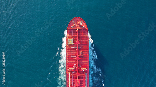 Fototapeta  Aerial top down photo of industrial oil and fuel tanker cruising open ocean sea
