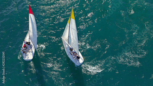 Obraz na plátně  Aerial drone photo of white Sailing boats compete during sailing regatta practis