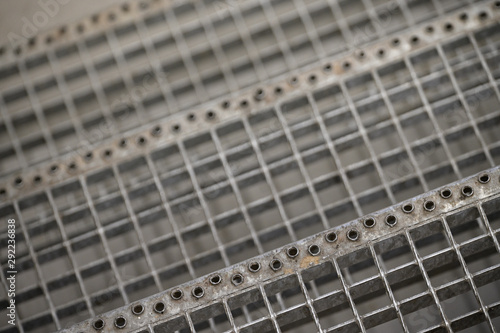 Non-slip openings on grate staircase. Canvas Print