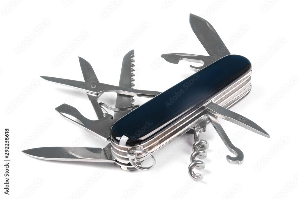 Fototapeta Black swiss army knife isolated on a white