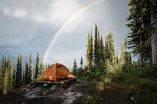 Camping Tent In Mountain Fores...
