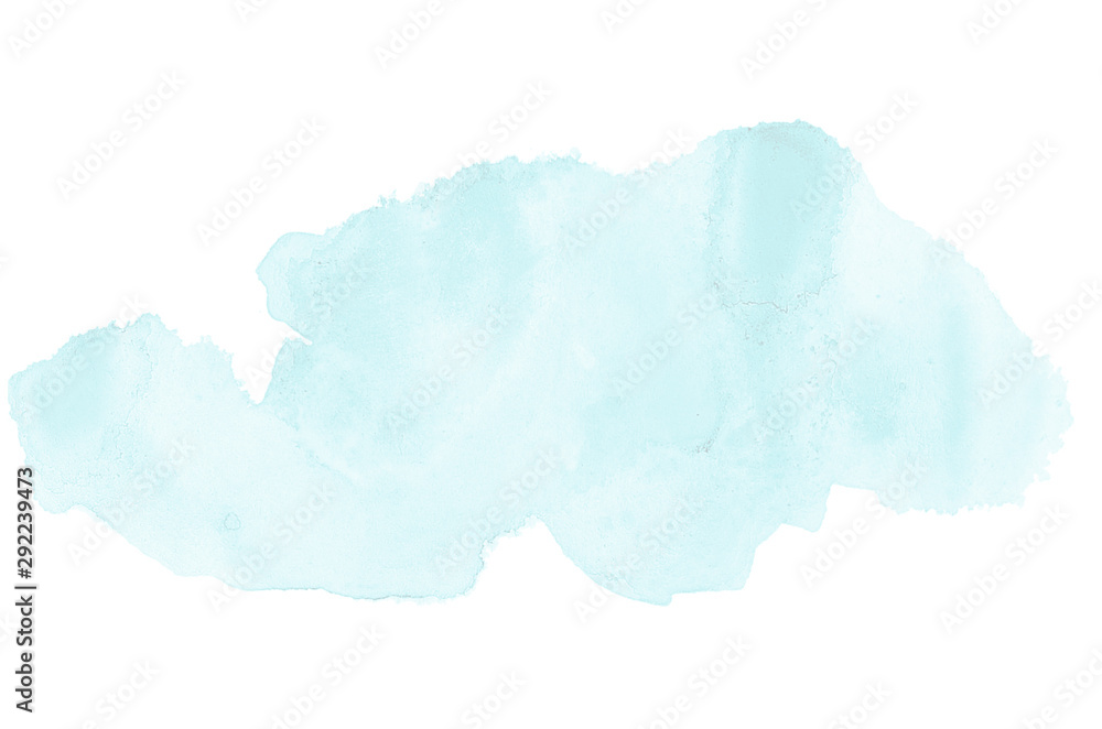 Abstract watercolor background image with a liquid splatter of aquarelle paint, isolated on white. Light blue tones <span>plik: #292239473 | autor: Vika92</span>