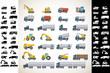 Heavy duty machines icon set