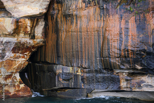 Natural pictured rocks landscape at North Michigan for abstract colorful background