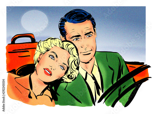pop art couple amoureux une femme et un homme roulant dans une voiture décapotab Wallpaper Mural