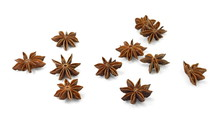 Dry Star Anise Fruits Isolated On White. Star Anise Spice Fruits And Seeds Isolated On White Background Closeup