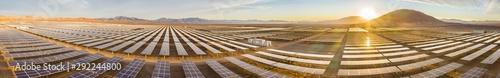 Obraz Solar Energy Photovoltaic Power Plant over Atacama desert sands, Chile. Sustainability and green energy from the sun with Solar Energy in the driest desert in the world: Atacama - fototapety do salonu