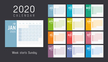 Colorful 2020 Horizontal Month...