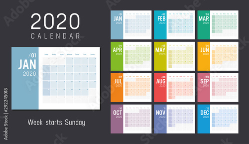 Obraz Colorful 2020 horizontal monthly calendar - fototapety do salonu