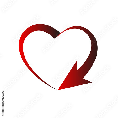Fotografie, Obraz Red heart frame sign cyclicity, isolated on light background