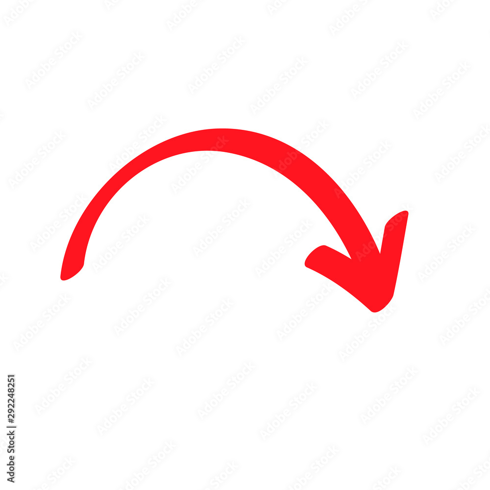 Fototapeta Red curved arrow sign, symbol and icon for business or website button decoration in isolated light background. Vector illustration