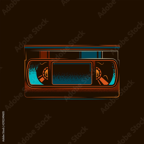 Original vector illustration.Old VHS videotape in retro style Fototapeta