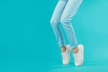 Woman In Stylish Sport Shoes O...