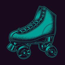 Original Neon Green Vector Illustration Vintage Roller Skates In Retro Style