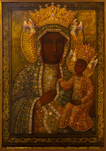 Ablain-Saint-Nazaire, France. 2019/9/14. Icon Of The Virgin Mary With Infant Jesus Of Czestochowa, Poland In The Church Of Notre-Dame-de-Lorette At The Memorial Of The WW I (1914-1918).