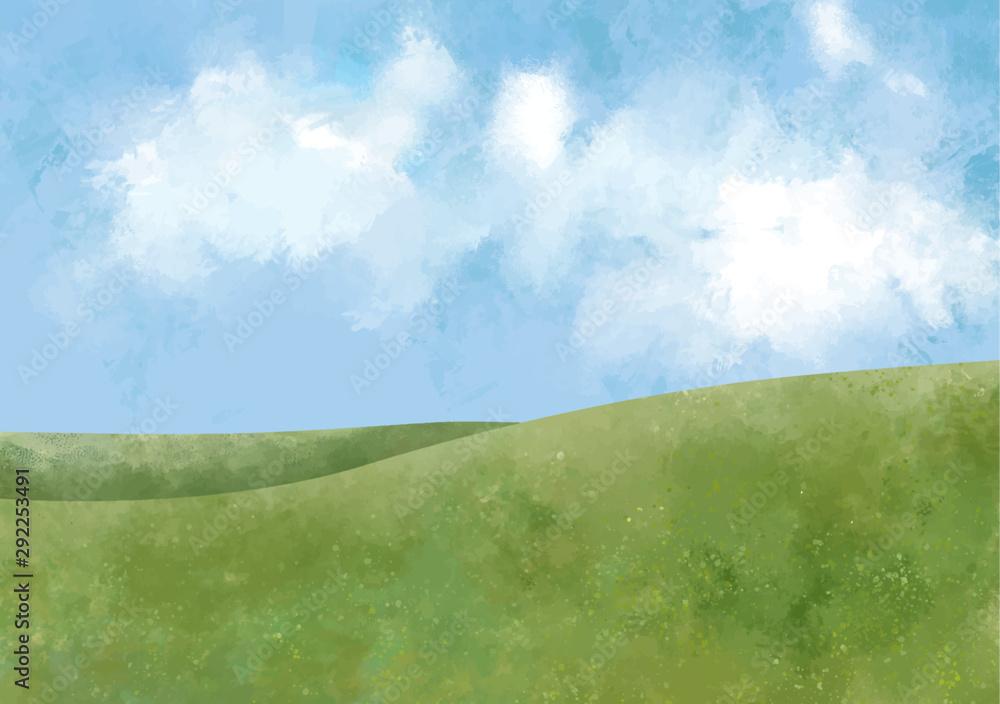 Fototapeta 丘 大地 緑 景色 青空 空 自然 背景 水彩 手描き 青空 空