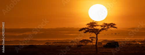 Aluminium Prints Africa Orange Sunset Safari Vehicle Horizontal Web Banner